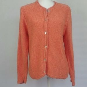 L.L. BEAN L Button Up Cotton Cardigan Apricot $50